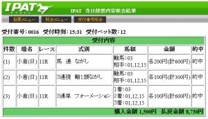2013小倉2歳ステークス3連単