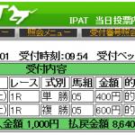 MONSTER指数1位かつポケット断層馬が激走して単勝1560円を的中しました。