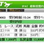 鳴尾記念(2016年)の複勝2760円を的中しました!