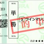 フローラステークスの単勝1140円を的中!ウインマリリンも加速〇+ヒモ△でした。